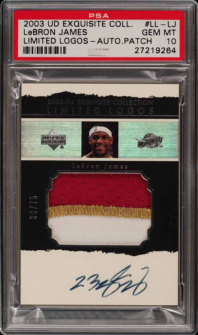 2003 Exquisite Collection Limited LeBron James RC AUTO PATCH /75 PSA 10 (PWCC) - Image 1