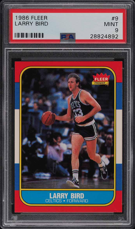 1986 Fleer Basketball Larry Bird #9 PSA 9 MINT (PWCC) - Image 1