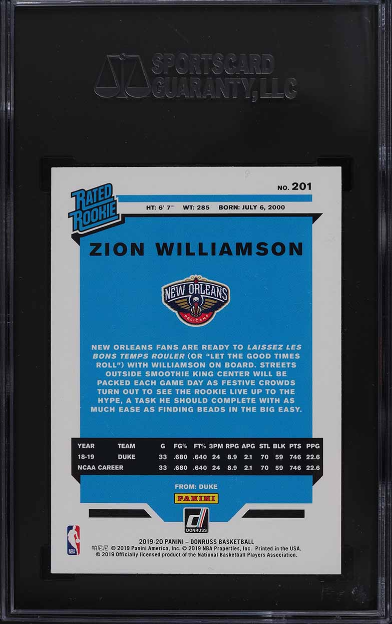 2019 Donruss Basketball Zion Williamson ROOKIE RC #201 SGC 10 GEM MINT - Image 2