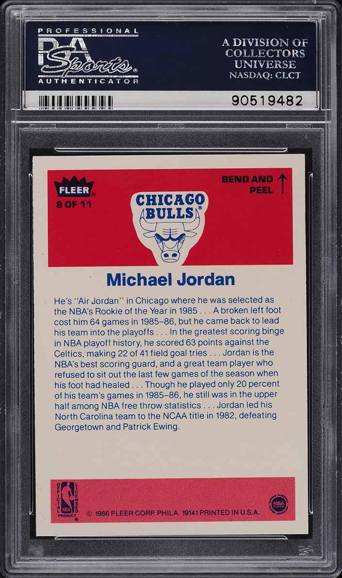 1986 Fleer Sticker Michael Jordan ROOKIE RC #8 PSA 10 GEM MINT (PWCC) - Image 2
