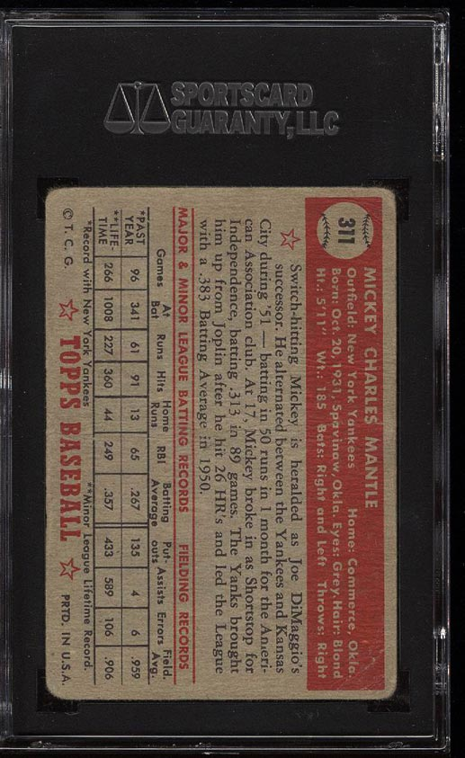 1952 Topps Mickey Mantle #311 SGC 1.5/20 FR (PWCC) - Image 2