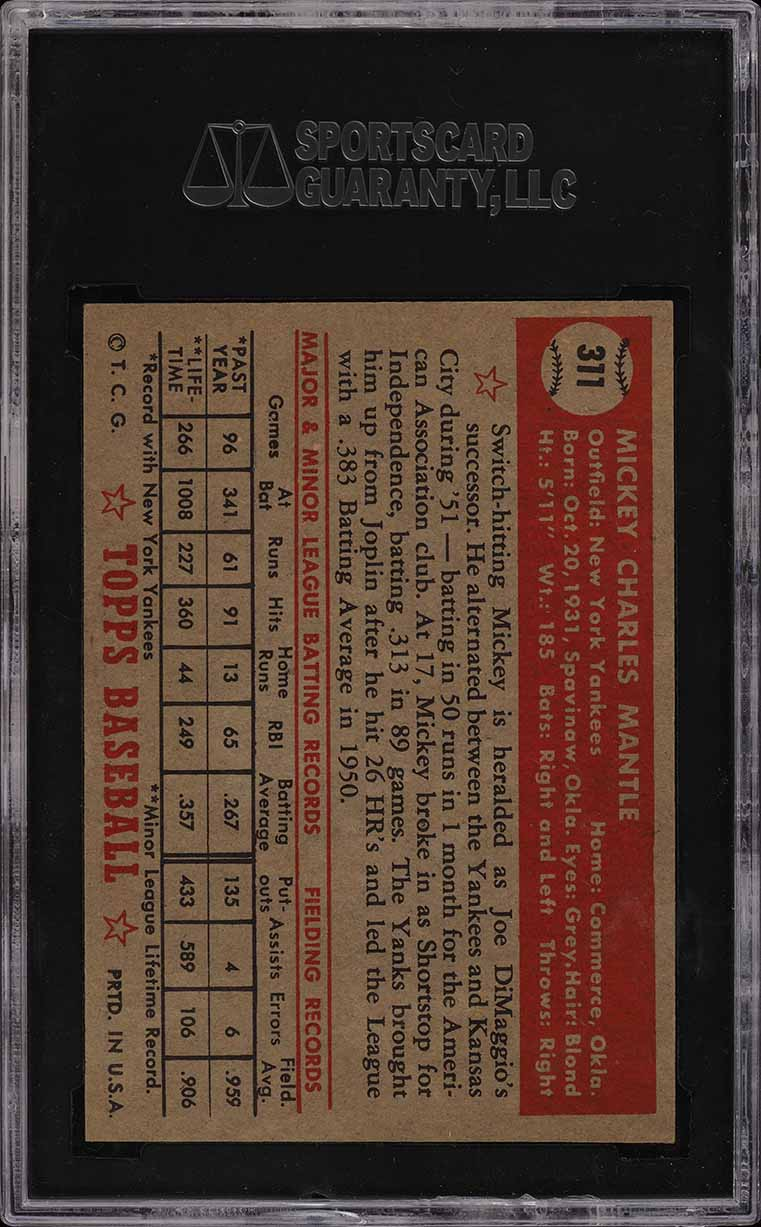 1952 Topps Mickey Mantle #311 SGC Auth (PWCC) - Image 2
