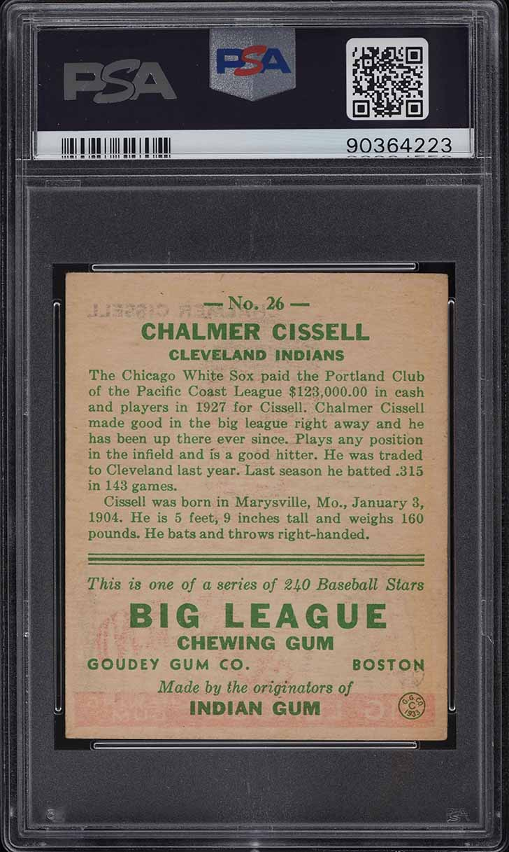 1933 Goudey Chalmer Cissell #26 PSA 7 NRMT - Image 2