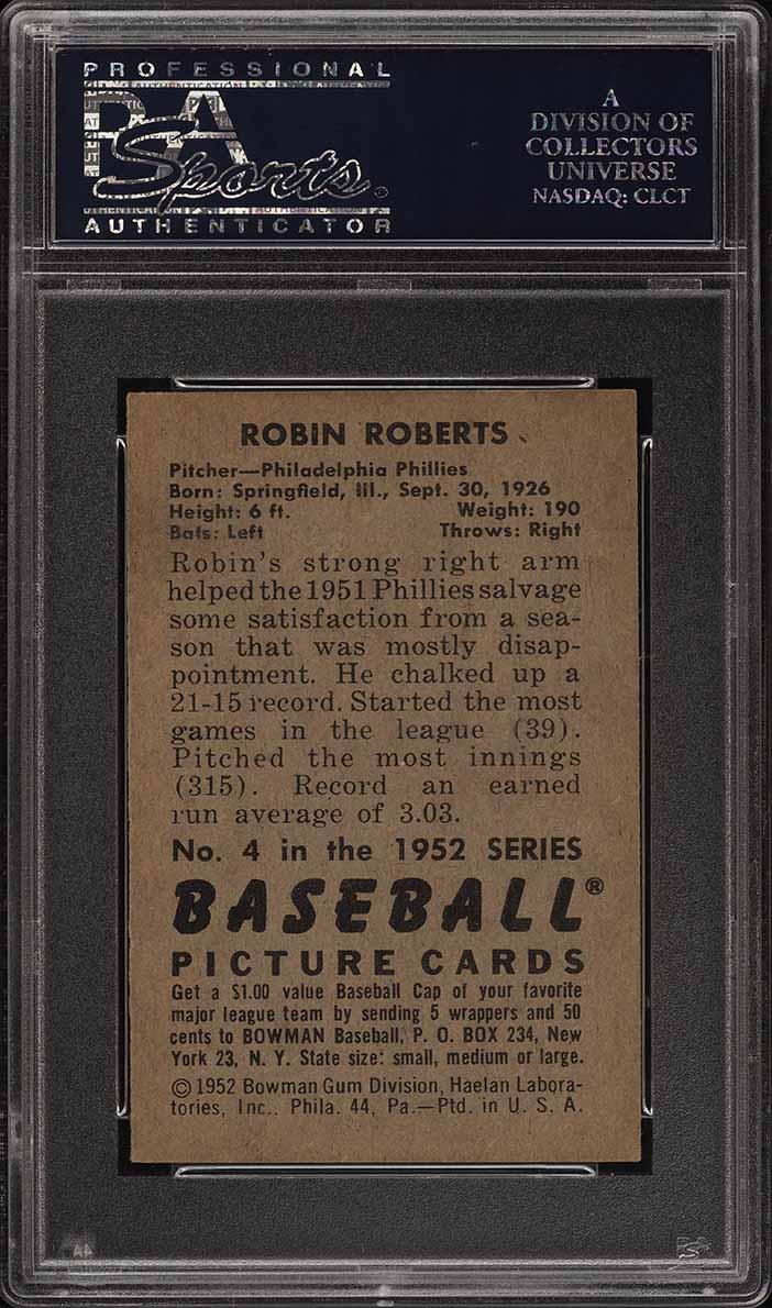 1952 Bowman SETBREAK Robin Roberts #4 PSA 7 NRMT (PWCC) - Image 2