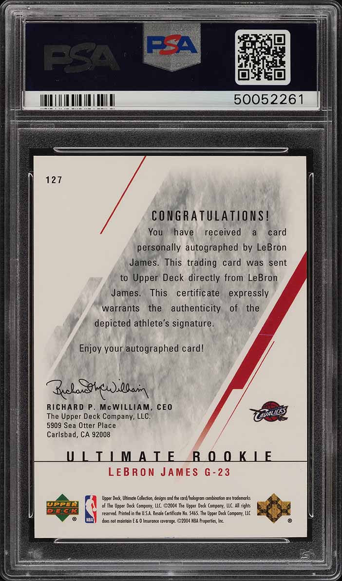 2003 Ultimate Collection LeBron James ROOKIE RC AUTO /250 #127 PSA 10 GEM (PWCC) - Image 2