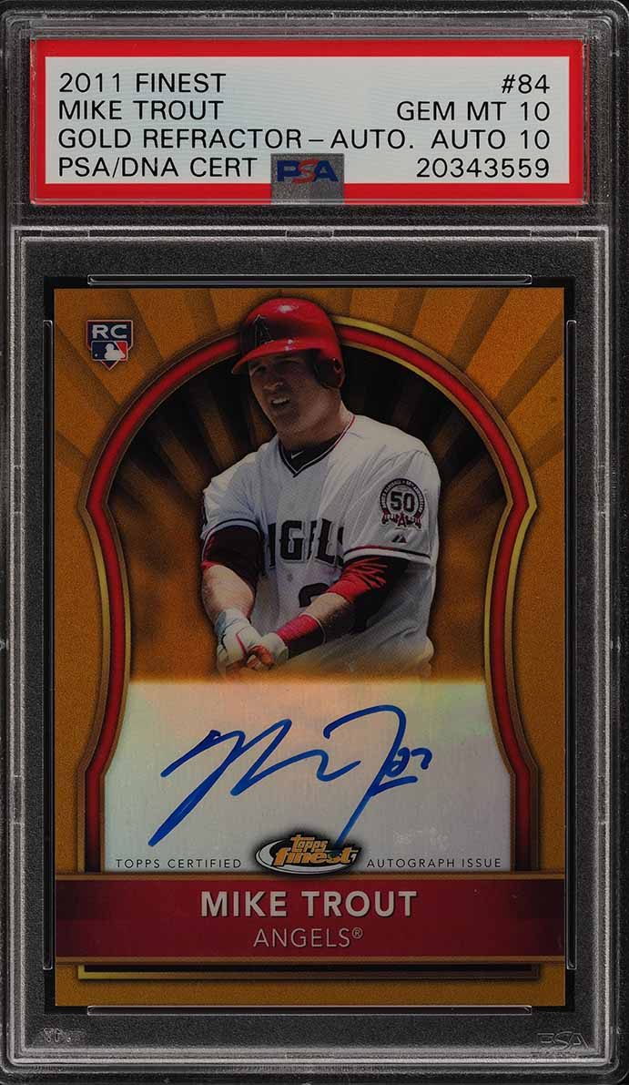 2011 Finest Gold Refractor Mike Trout ROOKIE PSA/DNA 10 AUTO /75 PSA 10 (PWCC) - Image 1