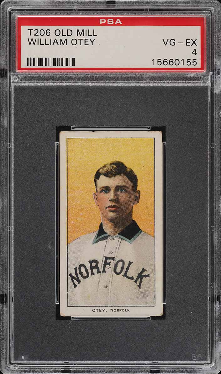 1909-11 T206 SETBREAK William Otey SOUTHERN LEAGUER, OLD MILL PSA 4 VGEX (PWCC) - Image 1