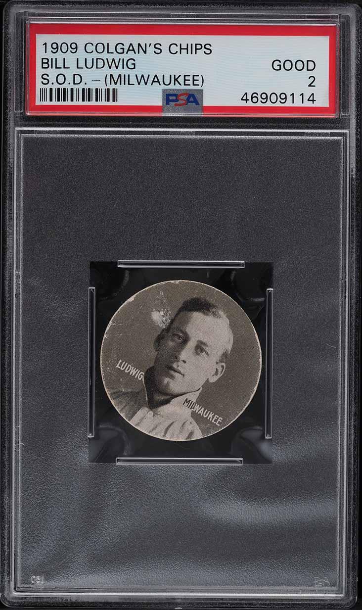 1909 Colgan's Chips Stars Of The Diamond Bill Ludwig MILWAUKEE PSA 2 GD - Image 1