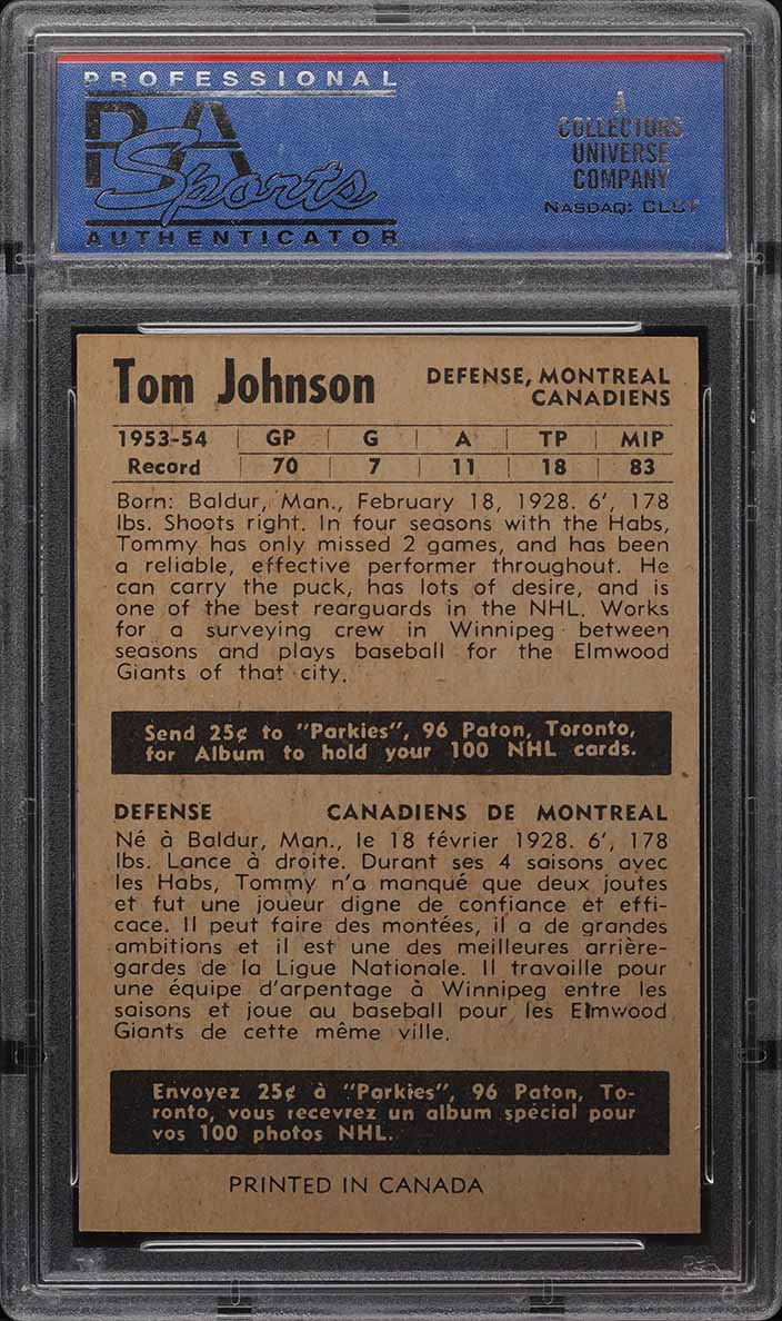 1954 Parkhurst Tom Johnson #10 PSA 8 NM-MT - Image 2
