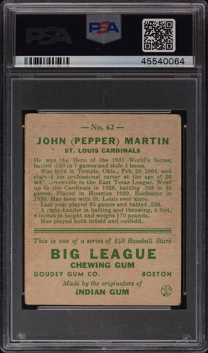 1933 Goudey Pepper Martin #62 PSA 3 VG - Image 2