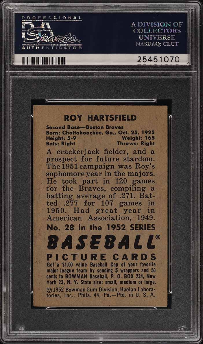 1952 Bowman SETBREAK Roy Hartsfield #28 PSA 7 NRMT (PWCC) - Image 2