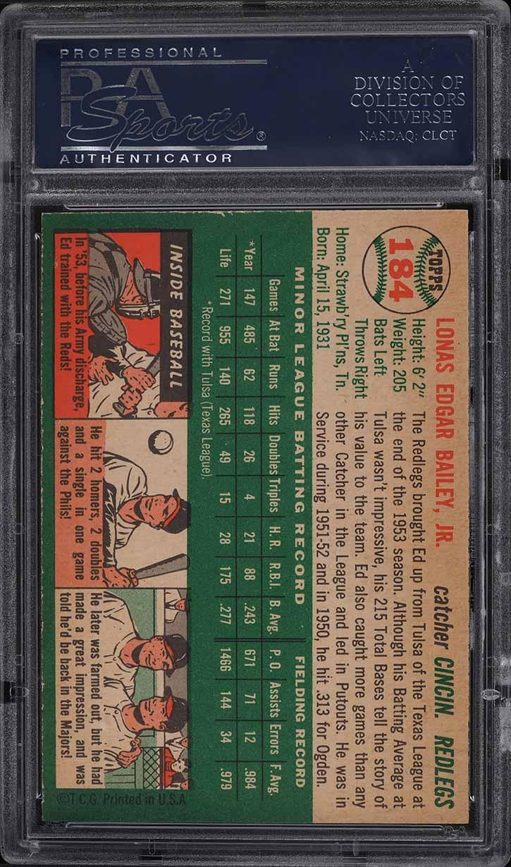 1954 Topps Ed Bailey #184 PSA 9 MINT - Image 2