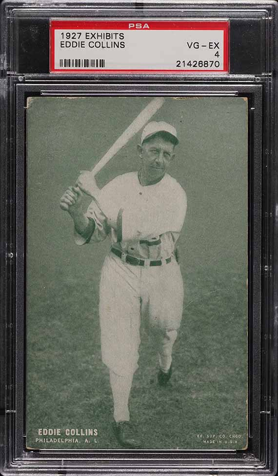 1927 Exhibits Eddie Collins GREEN TINT PSA 4 VGEX - Image 1