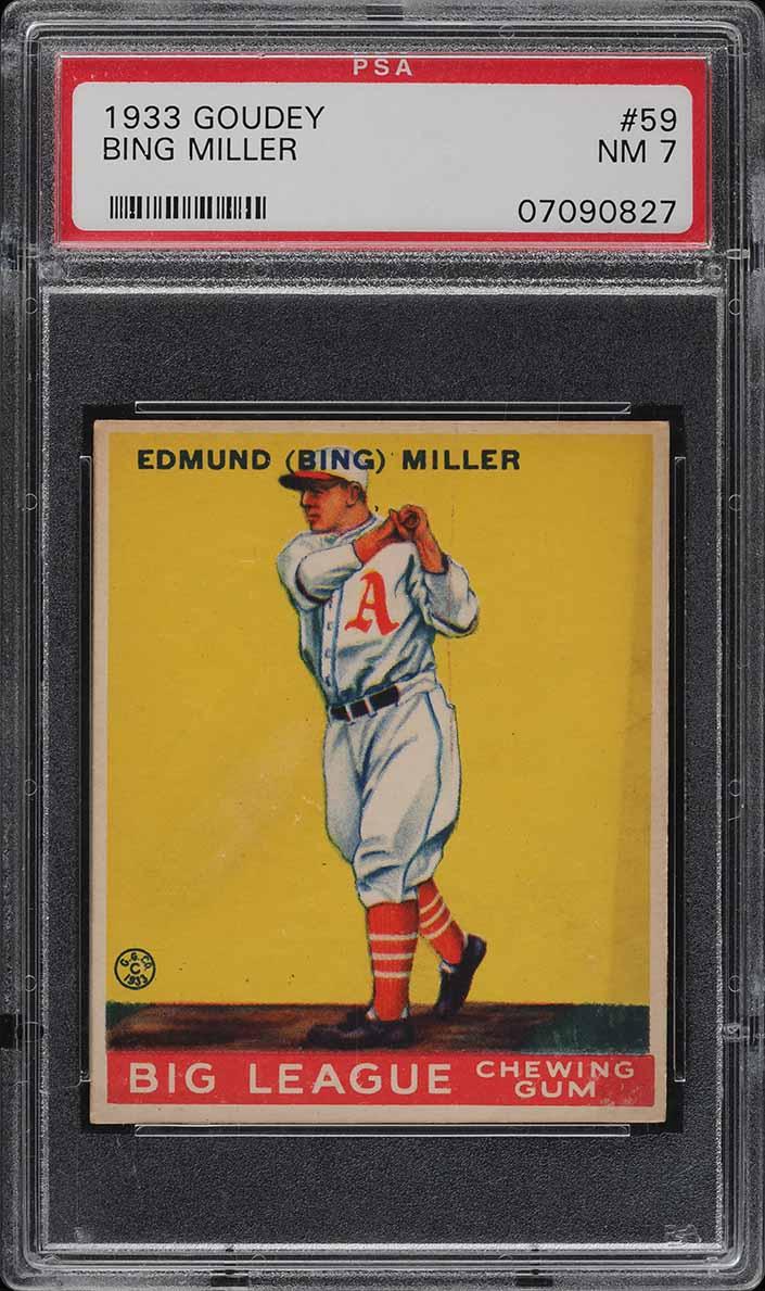 1933 Goudey Bing Miller #59 PSA 7 NRMT (PWCC) - Image 1