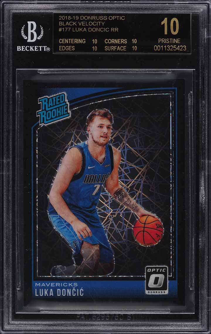 2018 Donruss Optic Black Velocity Luka Doncic ROOKIE RC /39 #177 BGS 10 BLACK - Image 1