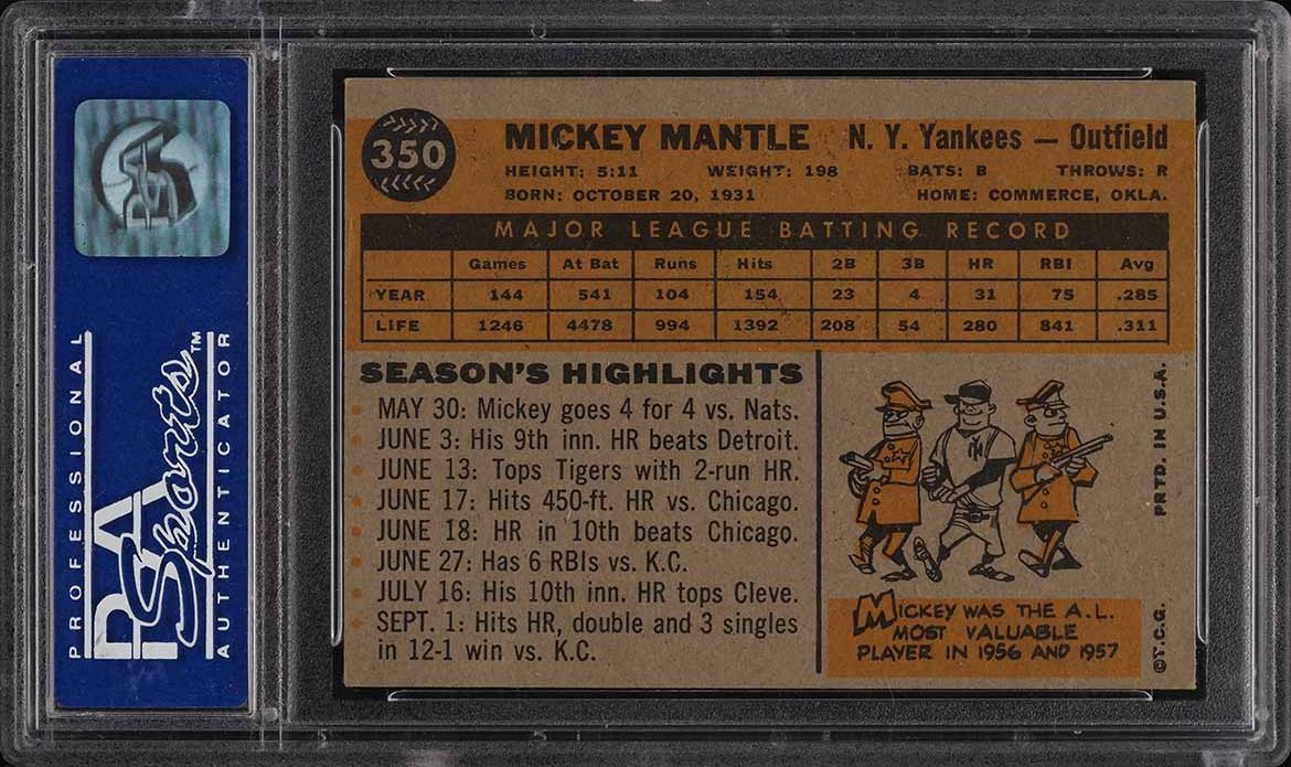 1960 Topps Mickey Mantle #350 PSA 6(pd) EXMT - Image 2