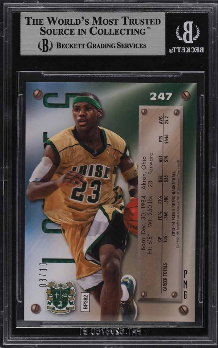 2013 Fleer Retro Precious Metal Gems PMG Green LeBron James /10 BGS 8.5 (PWCC) - Image 2