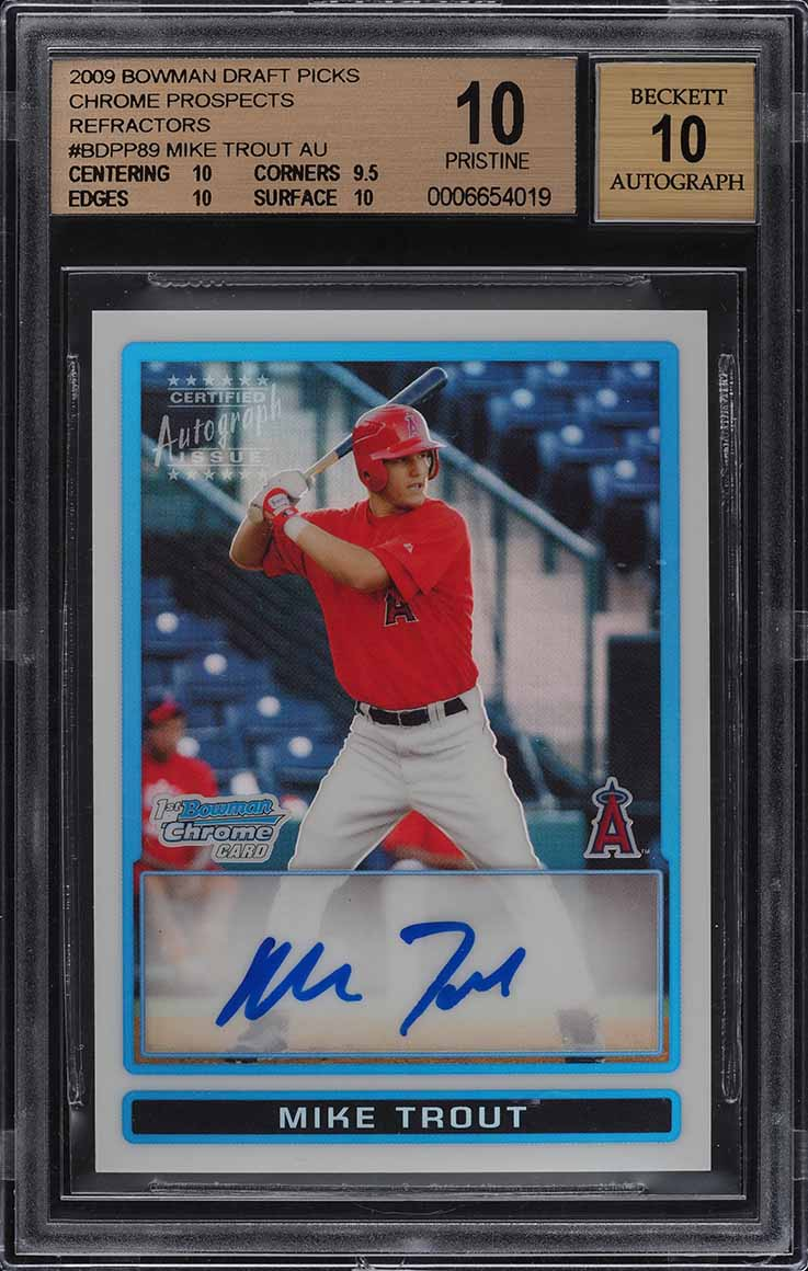 2009 Bowman Chrome Refractor Mike Trout ROOKIE AUTO /500 BGS 10 PRISTINE (PWCC) - Image 1