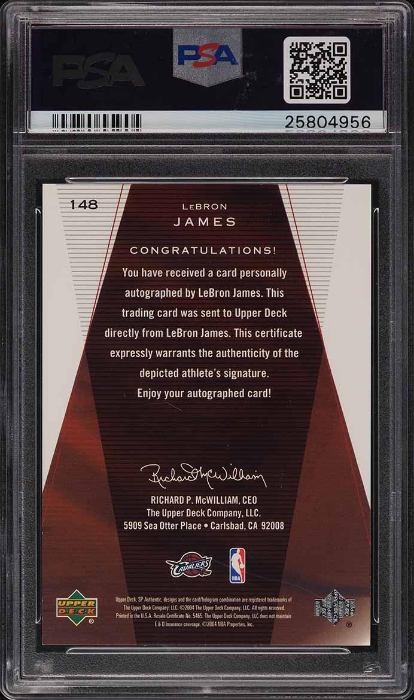 2003 SP Authentic LeBron James ROOKIE RC AUTO /500 #148 PSA 10 GEM MINT - Image 2