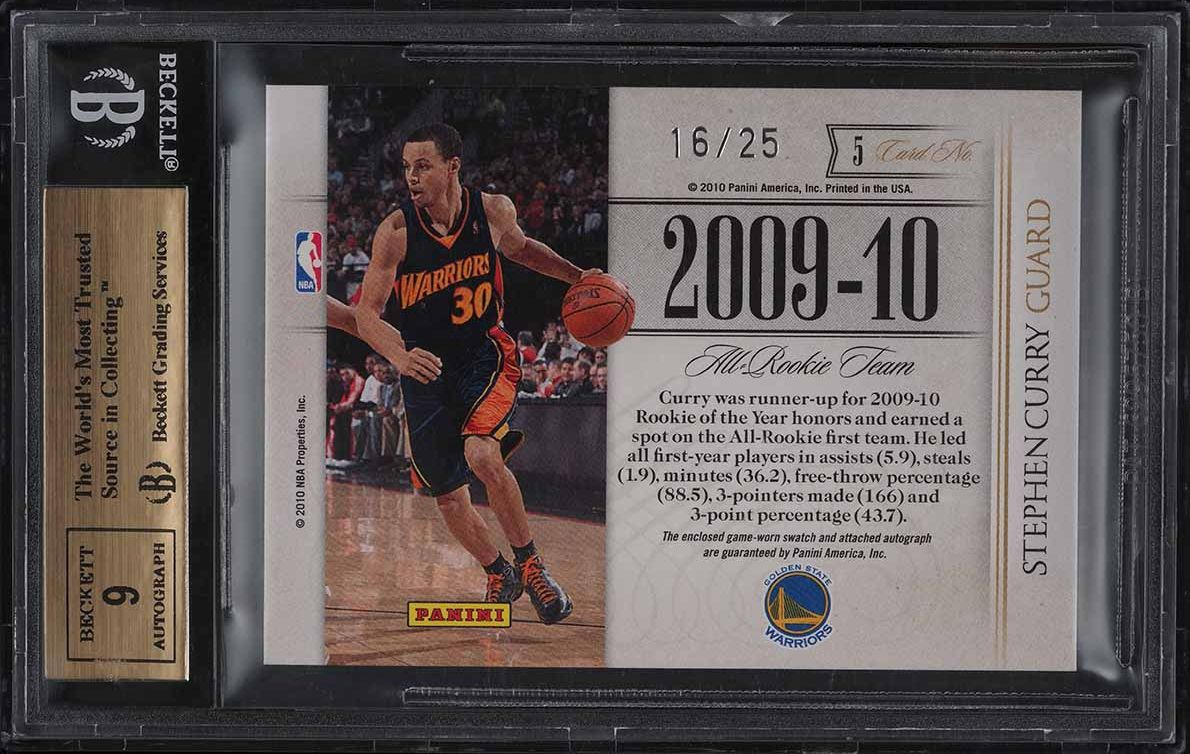2009 National Treasures Timeline Team Stephen Curry RC PATCH AUTO /25 BGS 9.5 - Image 2