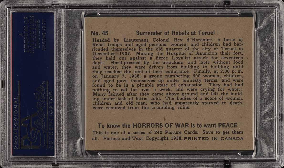 1938 V278 Canadian O Pee Chee Horrors of War Srurender #45 PSA 5 EX (PWCC) - Image 2