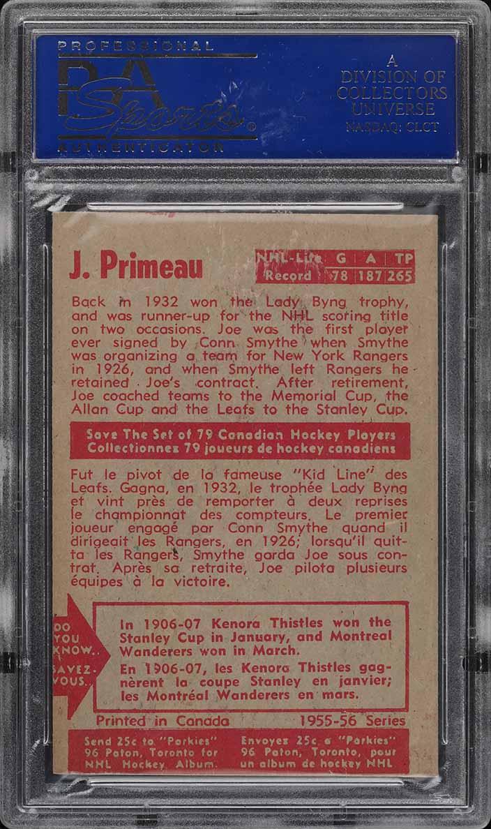 1955 Parkhurst Joe Primeau #24 PSA 6 EXMT - Image 2