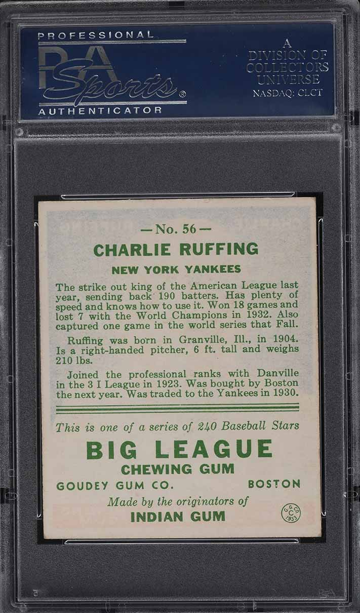 1933 Goudey Charlie Red Ruffing #56 PSA 6 EXMT - Image 2