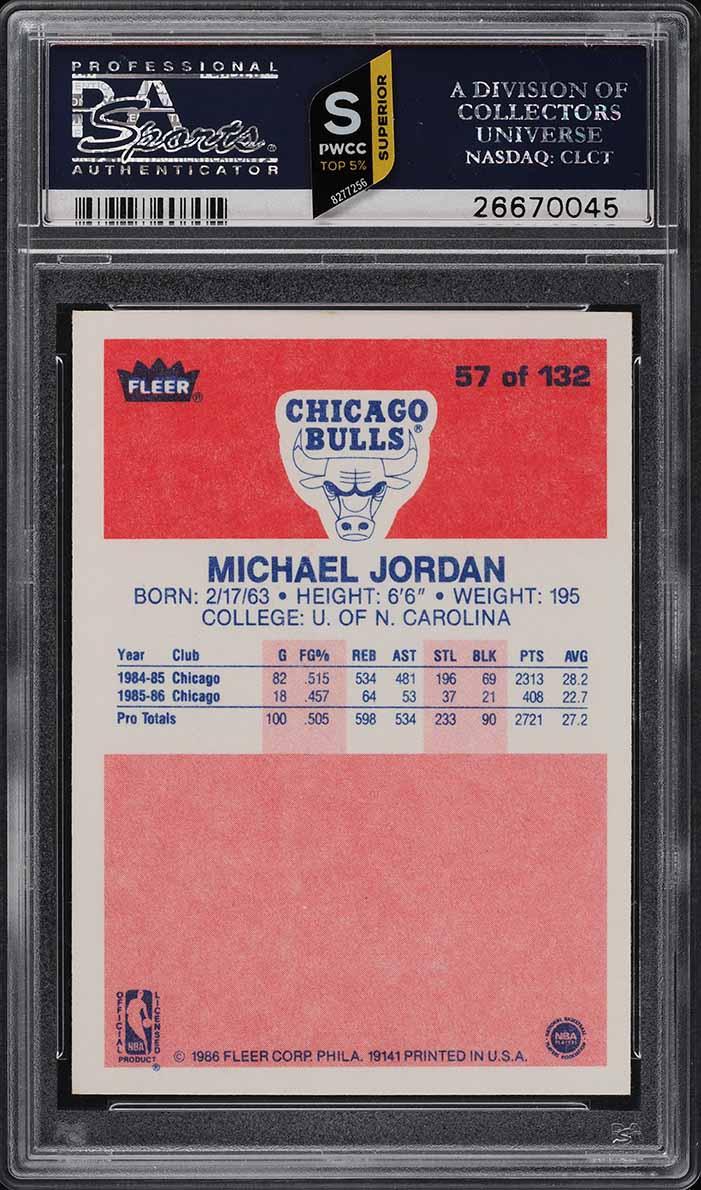1986 Fleer Basketball Michael Jordan ROOKIE RC #57 PSA 9 MINT (PWCC-S) - Image 2