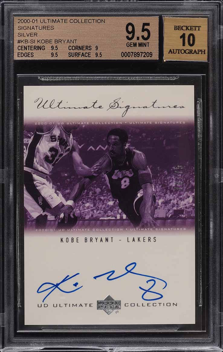 2000 Ultimate Collection Silver Kobe Bryant AUTO /75 #KBSI BGS 9.5 GEM MINT - Image 1