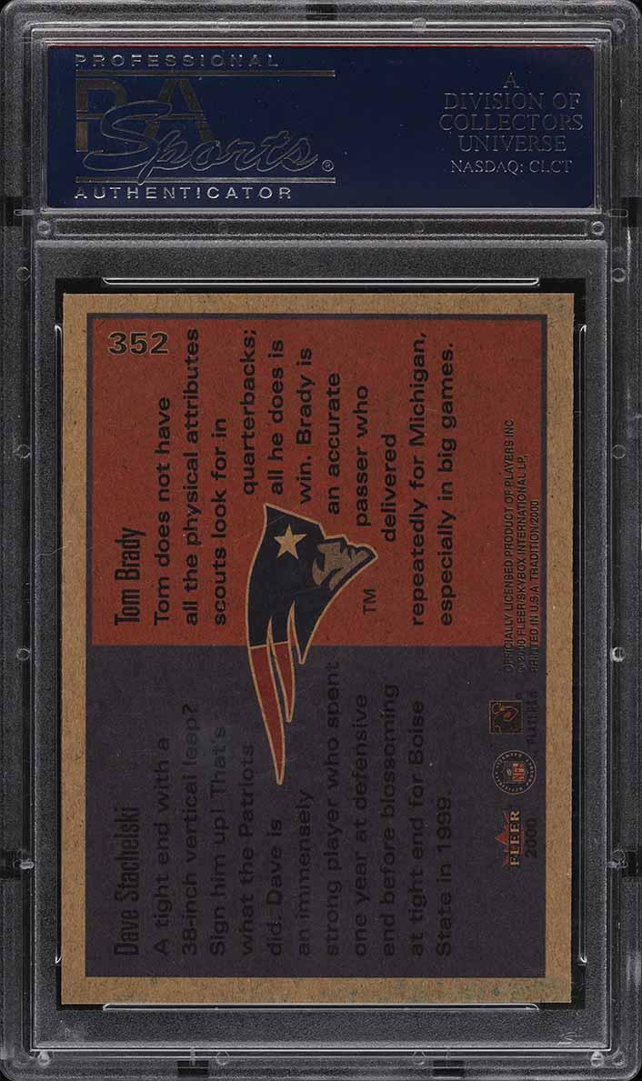 2000 Fleer Tradition Dave Stachelski & Tom Brady ROOKIE RC #352 PSA 9 MINT - Image 2