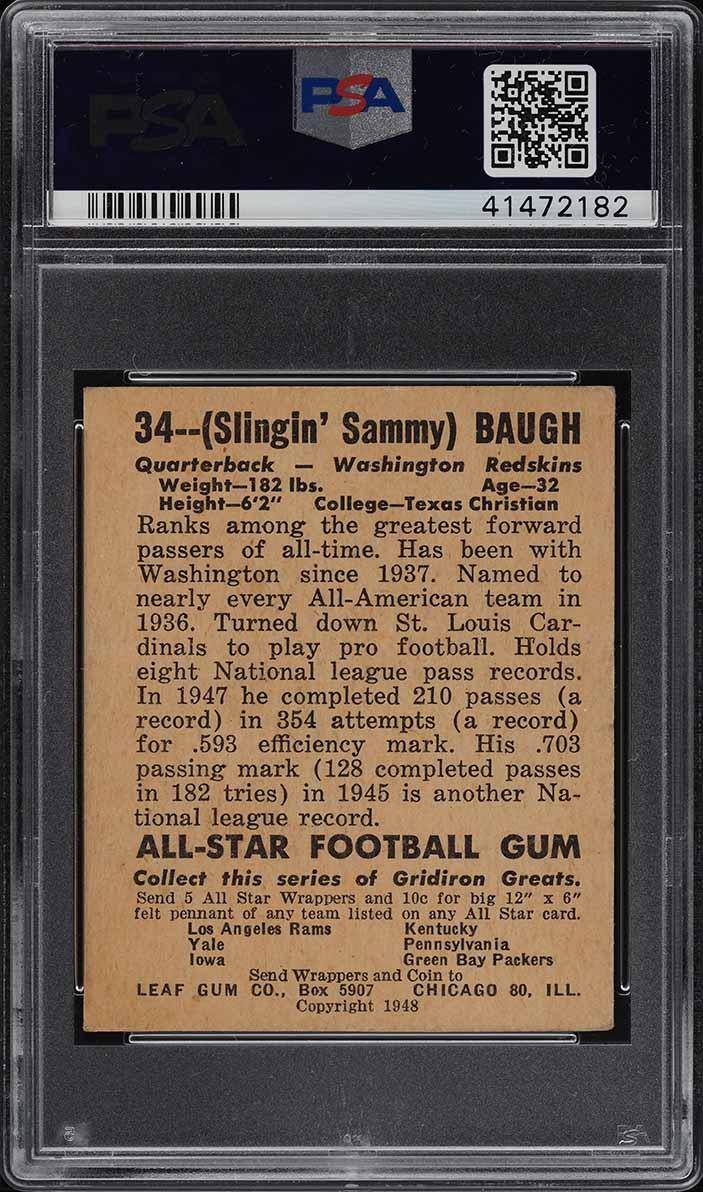 1948 Leaf Football Sammy Baugh ROOKIE RC #34 PSA 5 EX (PWCC) - Image 2