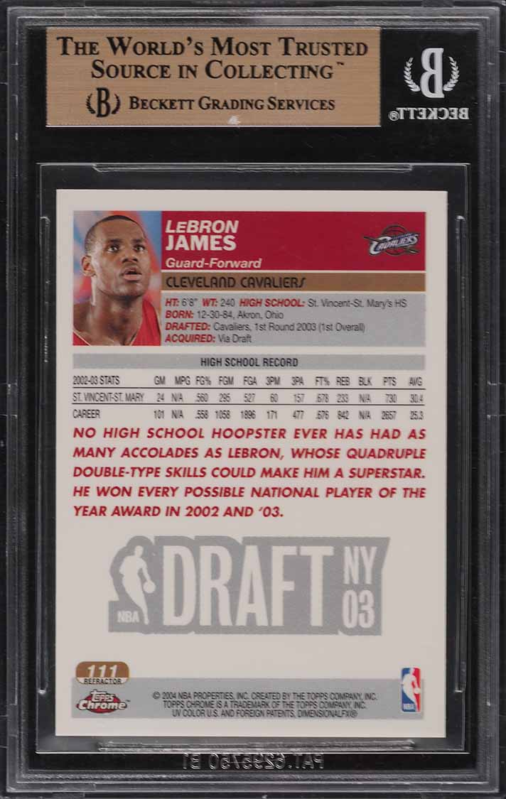 2003 Topps Chrome Refractor LeBron James ROOKIE RC #111 BGS 10 PRISTINE  - Image 2