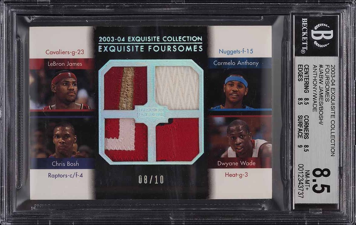 2003 Exquisite Foursome LeBron James Anthony Bosh Wade ROOKIE PATCH 8/10 BGS 8.5 - Image 1