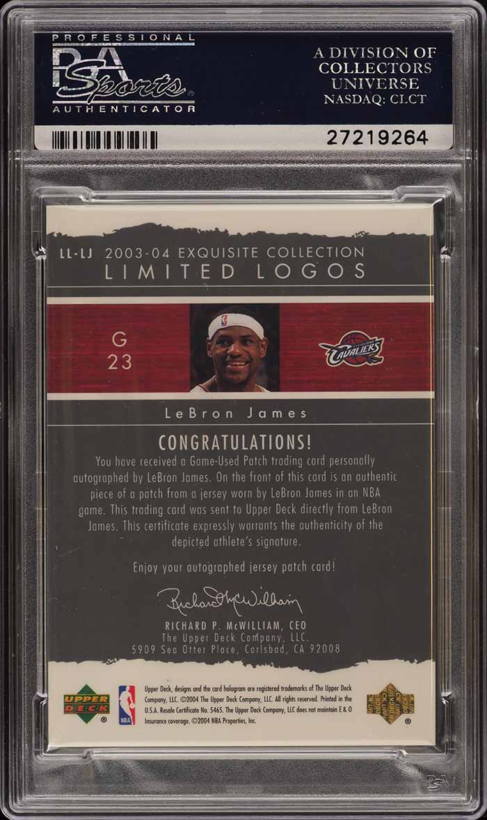2003 Exquisite Collection Limited LeBron James RC AUTO PATCH /75 PSA 10 (PWCC) - Image 2