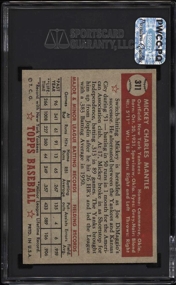 1952 Topps Mickey Mantle #311 SGC 7 NRMT (PWCC-PQ) - Image 2