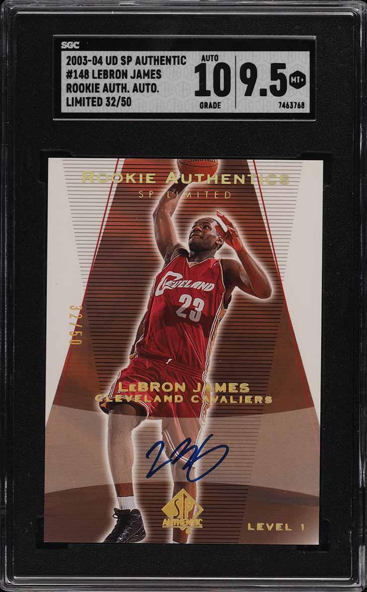 2003 SP Authentic Limited LeBron James ROOKIE '10' AUTO /50 #148 SGC 9.5 MINT+ - Image 1