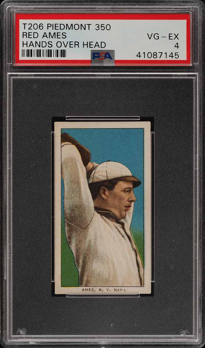 1909-11 T206 Red Ames HANDS OVER HEAD PSA 4 VGEX (PWCC) - Image 1