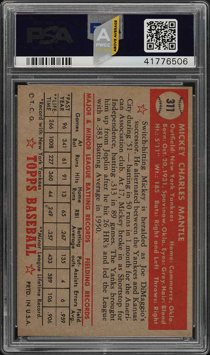1952 Topps Mickey Mantle #311 PSA 8 NM-MT (PWCC-A) - Certified Top 30% - Image 2