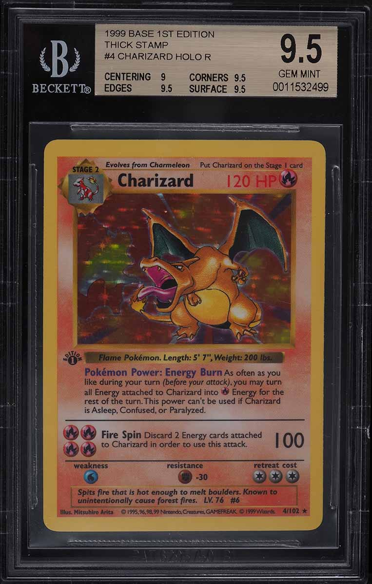 1999 Pokemon Base Set 1st Edition Shadowless Holo Charizard #4 BGS 9.5 GEM MINT - Image 1
