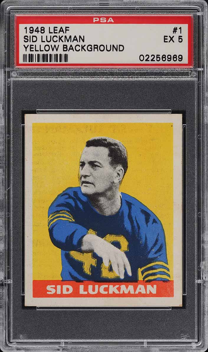 1948 Leaf Football Sid Luckman ROOKIE RC #1 PSA 5 EX (PWCC-A) - Image 1