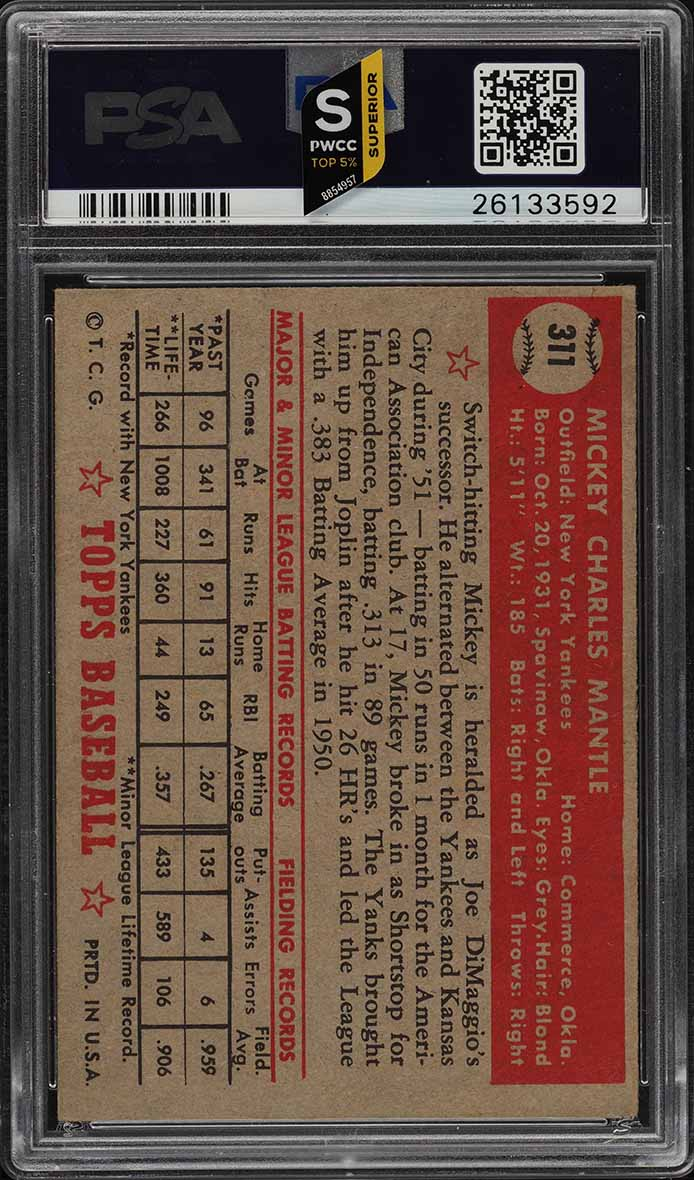 1952 Topps Mickey Mantle #311 PSA 2.5 GD+ (PWCC-S) - Image 2