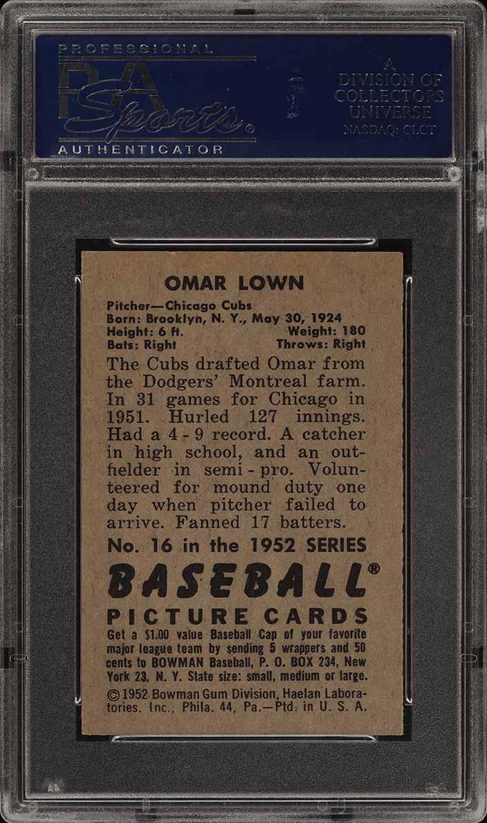 1952 Bowman SETBREAK Omar Lown #16 PSA 8 NM-MT (PWCC) - Image 2