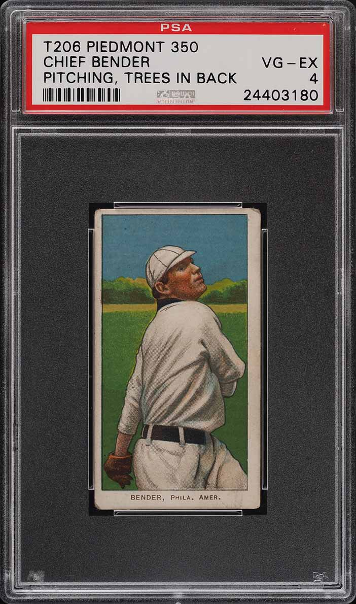 1909-11 T206 SETBREAK Chief Bender PITCHING TREES IN BACK PSA 4 VGEX (PWCC) - Image 1