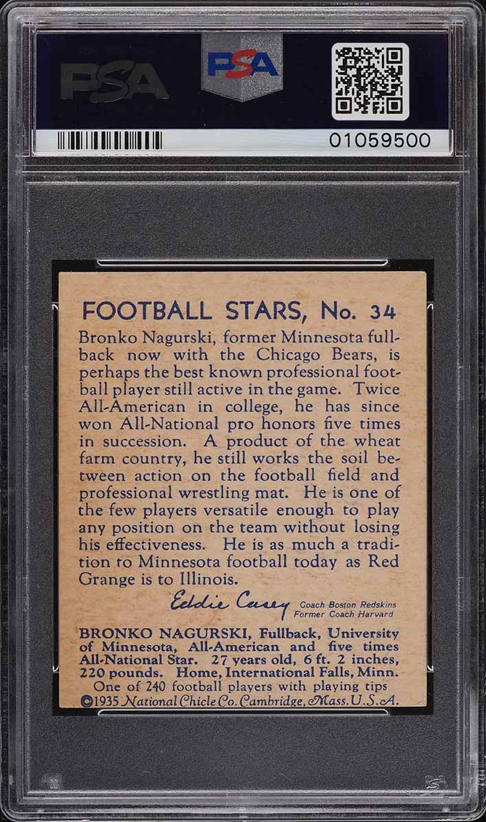 1935 National Chicle Football Bronko Nagurski ROOKIE RC #34 PSA 6 EXMT - Image 2