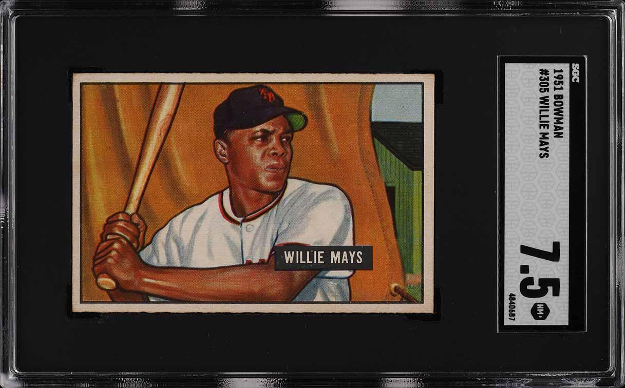 1951 Bowman Willie Mays ROOKIE RC #305 SGC 7.5 NRMT+ (PWCC) - Image 1