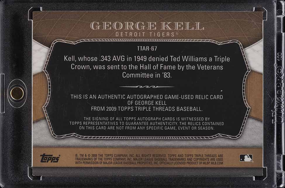 2009 Topps Triple Threads Kell PATCH AUTO /9 #TTAR-67 - Image 2