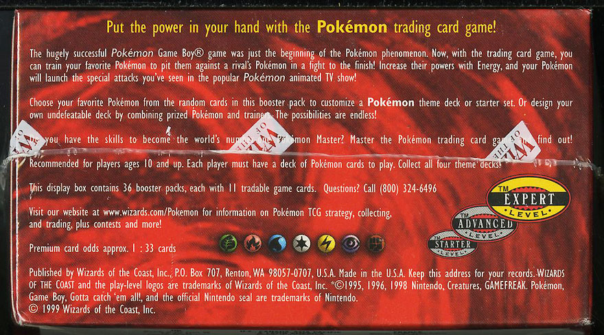 1999 Pokemon Base Set Factory Sealed Booster WOTC Box, Blue Wing Charizard - Image 4