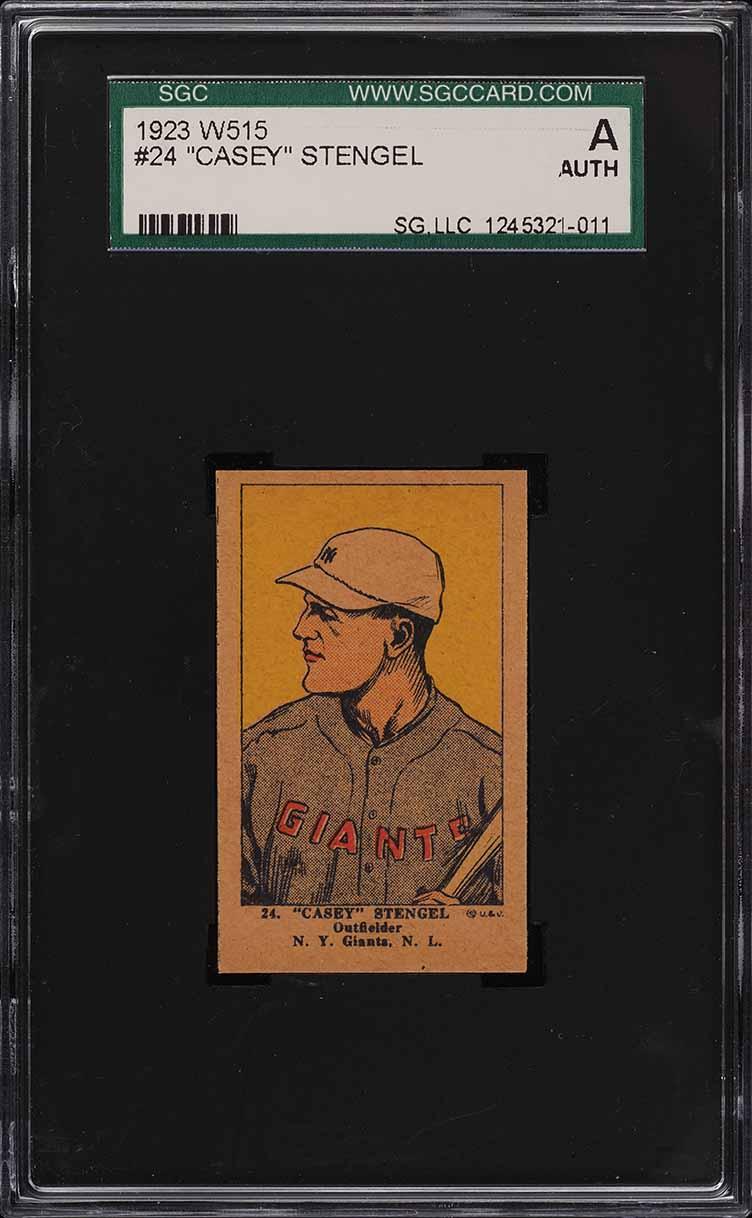 1923 W515 Strip Card Casey Stengel #24 SGC Auth - Image 1