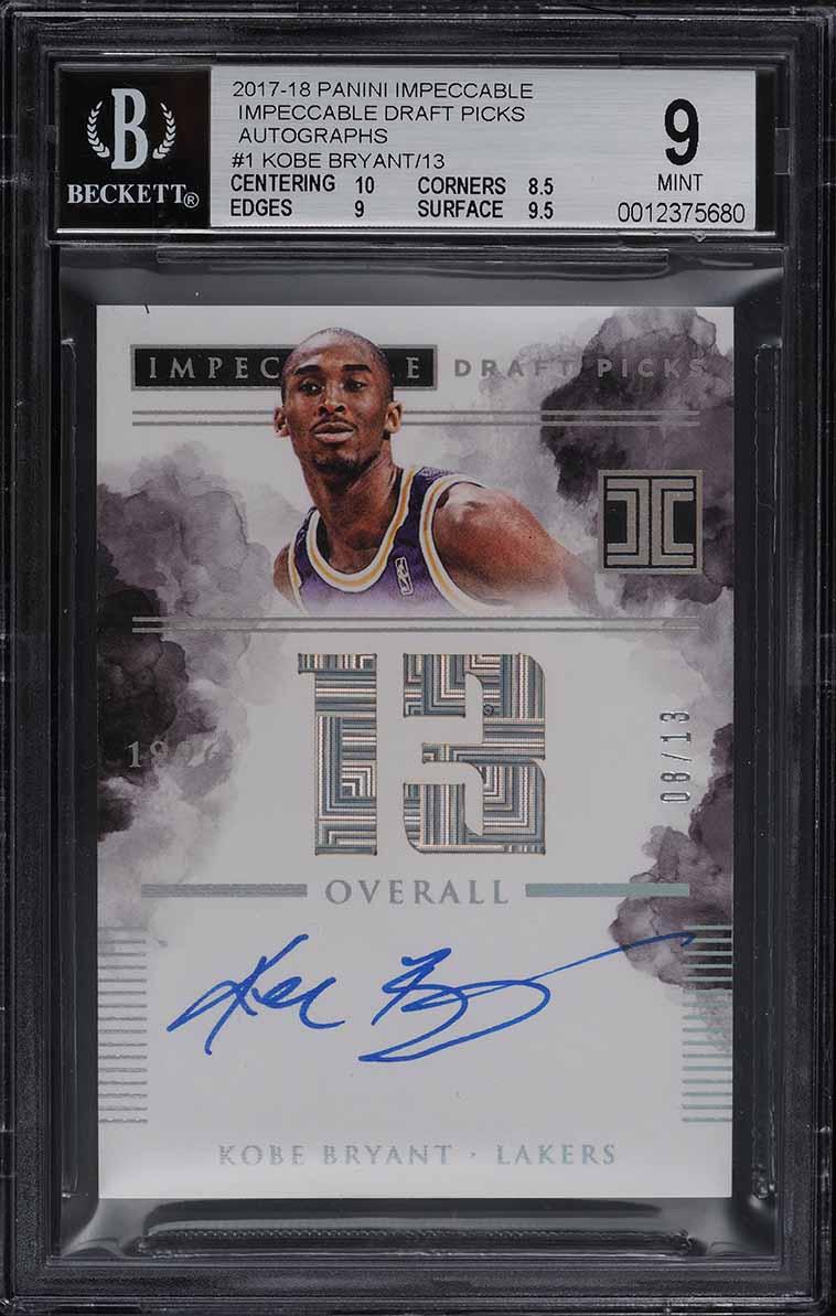 2017-18 Panini Impeccable Draft Picks Kobe Bryant AUTO JERSEY NUMBER 8/13 BGS 9 - Image 1