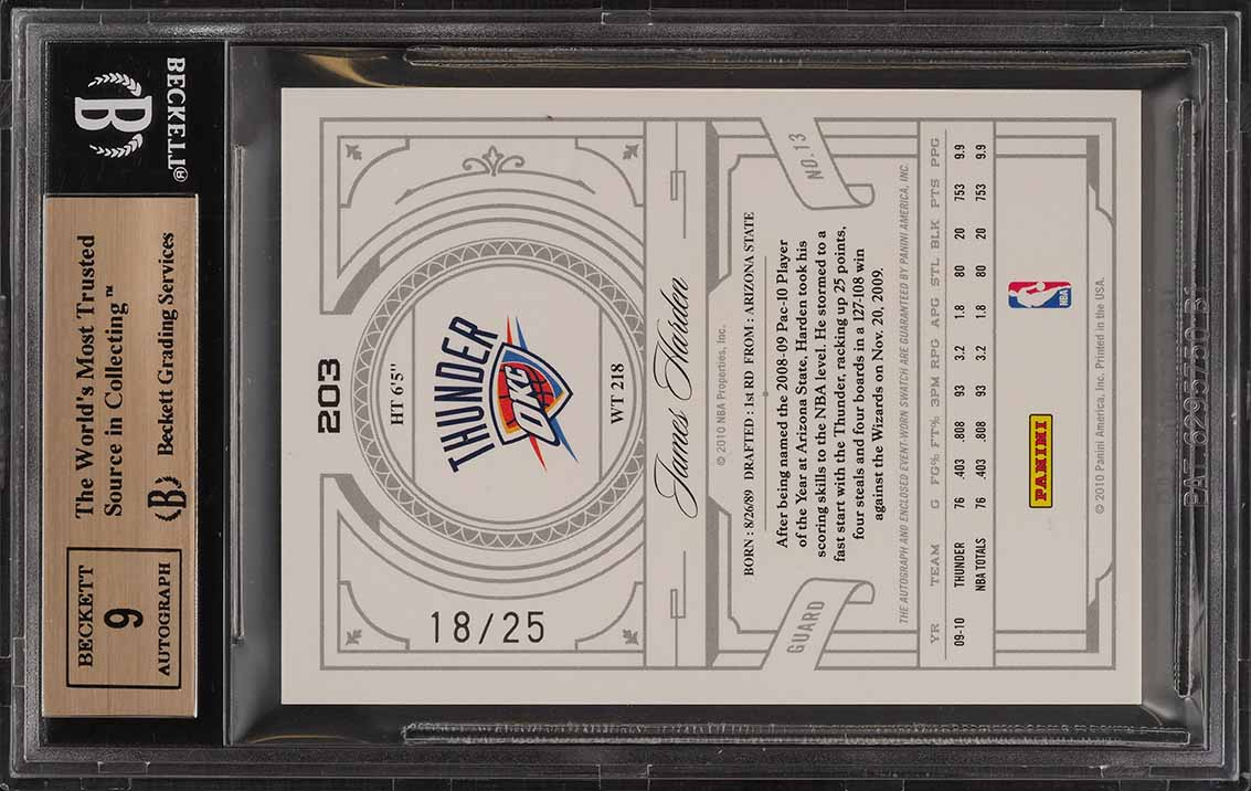 2009 National Treasures Century Gold James Harden RC AUTO PATCH /25 BGS 9.5 PWCC - Image 2